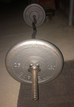 Olympic Curl Barbell with Weights included. for Sale in Huntington Beach, CA