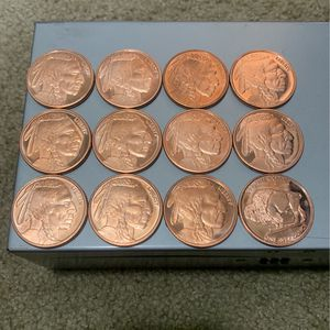 Indian Head Buffalo Copper One Ounce Rounds Lot Of Twelve for Sale in Levittown, PA
