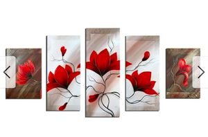 Red Floral Abstract 5 piece Oil Hand painted Canvas for Sale in Bethesda, MD