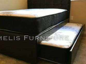 Full/Twin Expresso Trundle Bed W. Orthopedic Mattresses Included for Sale in Santa Ana,  CA