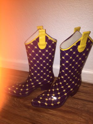 LSU type rain boots! SEASON IS STARTING GUYS! for Sale in New Orleans, LA