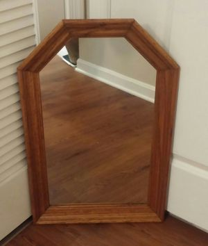 Red Oak Wooden Frame Hexagon Wall Mirror for Sale in Germantown, MD