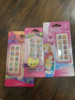 Kids fun press on nails, trolls, shopkins, disney princess for Sale in Hemet, CA