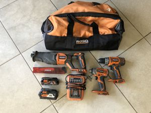 Rigid Gen 3 and 4 Tool Combo Set with batteries, charger and case for Sale in Oceanside, CA