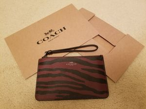 New Coach ~ Oxblood/Dark Red Tiger Stripe Small Wristlet ~ for Sale in Germantown, MD