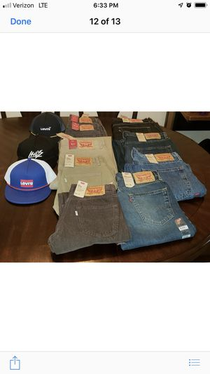 Levi's jeans several different colors and styles and also truckers hats for Sale in Durham, NC