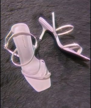 White strappy square toe kitten heels for Sale in Yucca Valley, CA