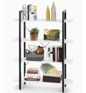 Wood Bookshelf 4 Tier 41Wx12Dx55H Bookcase Solid Industrial Bookshelf, Sturdy Bookshelves w/ Steel Frame Storage Organizer WHITE for Sale in Ontario, CA