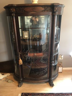 Antique tiger oak curio cabinet for Sale in Gaithersburg, MD