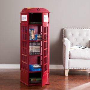 Southern Enterprises Phone Booth Storage Cabinet in Red for Sale in Temple City, CA