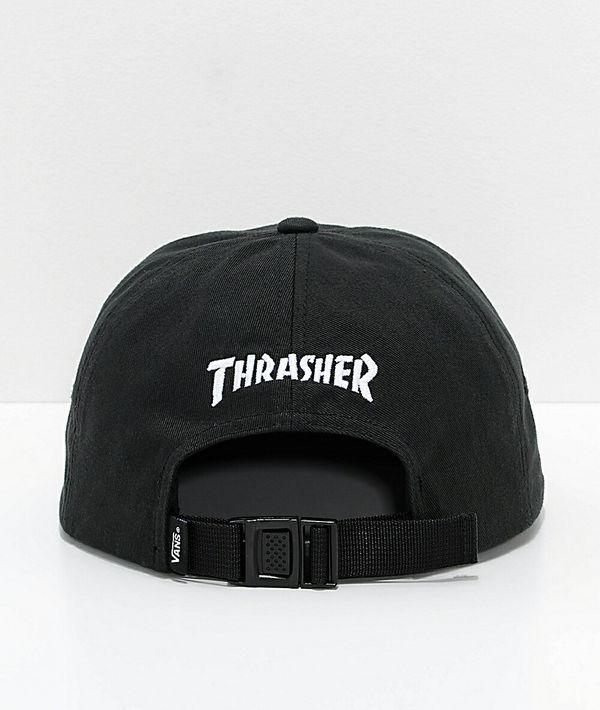 Vans X Thrasher Jockey 6 Panel Black Strapback Hat Off The Wall 1966 ... 9d763edda06