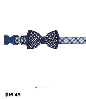 Two collar Top paw Blue plaid bow tie Dog collar for Sale in Fairfax, VA
