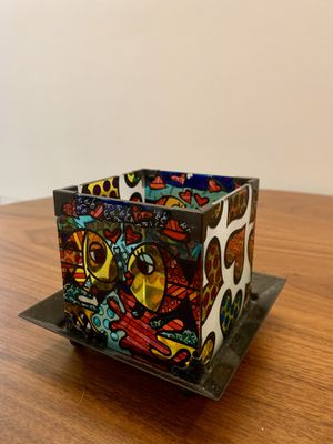 Romero Britto Candle holder - Colored Glass and Metal base for Sale in Miami, FL