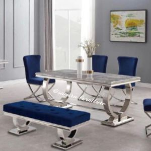 Royal Blue Dining Chairs With Marble Top Table for Sale in Miami, FL