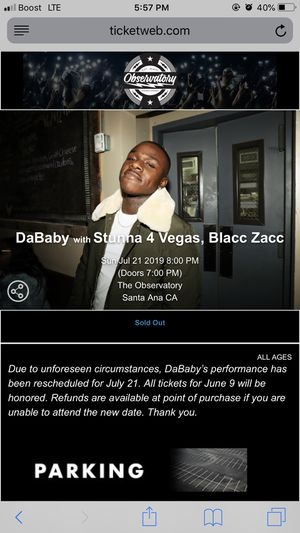 Dababy concert for Sale in Rosemead, CA