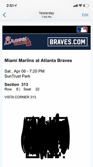 2 tix to tonight's game ! Atlanta Braves $20 each for Sale in Atlanta, GA