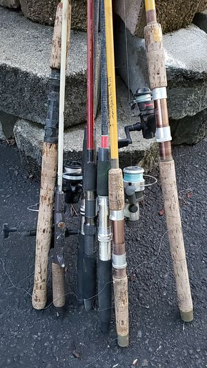 7 vintage fishing rods 5 to 8 feet with reels and some line. for Sale in Seattle, WA