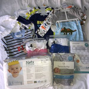 New baby clothes lots bodysuits swaddle dipers for Sale in Redmond, WA