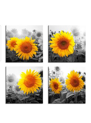 """Canvas Wall Art for Living Room Bathroom Wall Decor for Bedroom Kitchen Artwork Canvas Prints Sunflower flowers Painting 12"""" x 12""""×4 for Sale in Silver Spring, MD"""