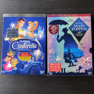 Two Disney dvds movies - Cinderella and mary Poppins for Sale in San Mateo, CA