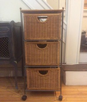Pier 1 wrought iron and wicker 3 drawer storage with wheels for Sale in Queens, NY