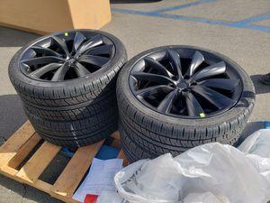 "Brand new Tesla Model X 22"" black onyx wheels rims tires set for Sale in Seattle, WA"