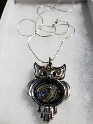 Owl Charm Pendant with chain. Owl locket opens and accents may be added. for Sale in Edgewood, WA