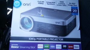 BRAND NEW IN BOX HD 1080P PROJECTOR FULLY ADJUSTABLE WITH ROKU STICK NEW ONLY 100$ for Sale in Richland Hills, TX