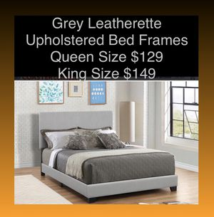 Queen & King Grey Leatherette Bed Frames (New) Same Day Delivery Available for Sale in Atlanta, GA