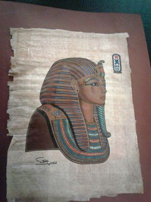 Original..egyption papyrus.. painting ..with..certificate for Sale in Odenton, MD