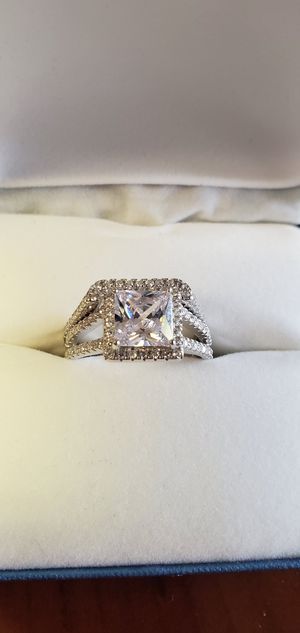 2pc Set 925 Sterling Silver, Princess Cut Center Stone, AAA Cubic Zirconia 2.5 CT, Women's Wedding Ring Set, Ring Size 5, 6, 8 & 9 for Sale in Portland, OR