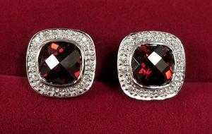 14k White Gold Garnet & Diamond Omega Back Earrings for Sale in Hemet, CA
