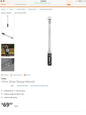 Husky 1/4 in. Drive Torque Wrench for Sale, used for sale  Tucker, GA