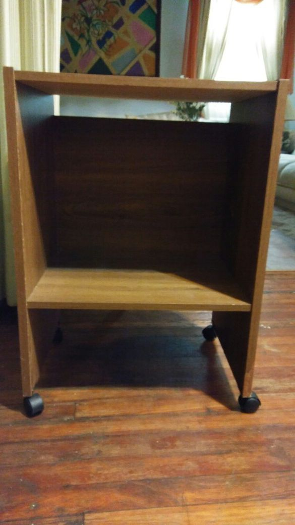 brown wooden 2 cabinet with shelf