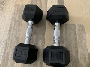 Set of 15 lbs/pounds dumbells weights. for Sale in Aurora, CO
