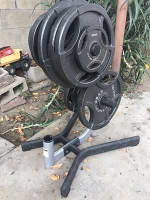 Olympic Weights with Olympic Weight Stand for Sale in Fountain Valley, CA