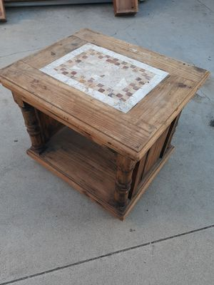 Rustic burnt wood center table tv stand side table for Sale in Riverside, CA
