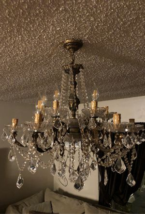Antique,stunning brass crystal chandelier 12 branch for Sale in Los Angeles, CA