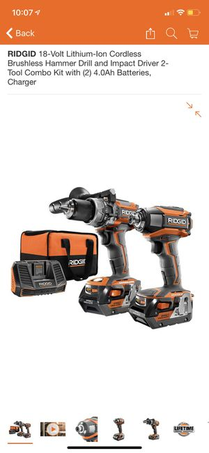 RIDGID 18-Volt Lithium-Ion Cordless Brushless Hammer Drill and Impact Driver 2-Tool Combo Kit with (2) 4.0Ah Batteries, Charger for Sale in San Dimas, CA
