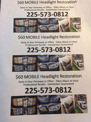 $60 Headlight Restore for Sale in Zachary, LA
