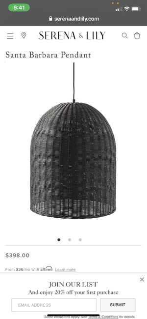 Serena & lily pendant light new for Sale in Stoughton, MA