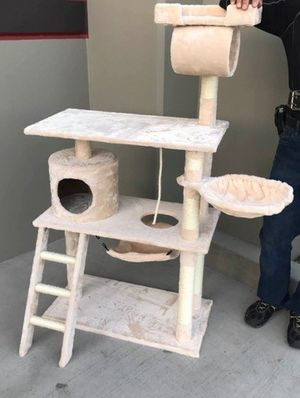New in box 55 inches tall cat tree scratching post cat tower house black brown navy blue beige or paw print for Sale in Whittier, CA