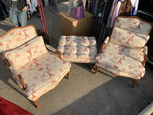 Two beautiful arm chairs with ottoman for Sale in Anaheim, CA