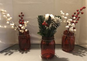 Red Mason Jars w/Decor for Sale in Bluffdale, UT