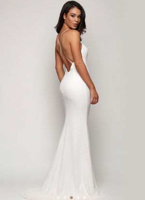 White Runway James Cross Back Gown by Sofia Cali for Sale in Valley Stream, NY