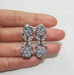 Cz diamond flower drops earrings dangle for Sale in Austin, TX