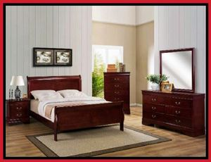 Cherry Wood King Size 4 Piece Bedroom Set COLOR CHOICE for Sale in Glendale, AZ