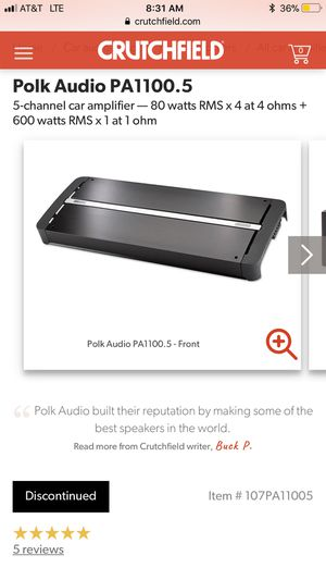 Works great Polk Audio PA1100.5 Five Ch. Amp for Sale in Portola Valley, CA