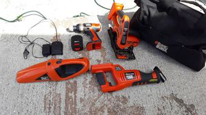 Black and decker power tool set. Just need a battery. Charger, vaccum power saw, drill, and chip saw. for Sale in St. Petersburg, FL