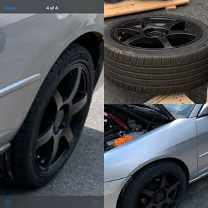 4 lug black rims and tires all new for Sale in Taunton, MA